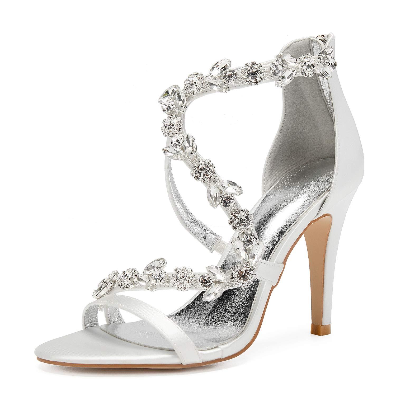 Ivory LHWAN zapatos de boda de satén correa de tobillo tacón de aguja sandalias de diamantes de imitación correa cruzada cremallera trasera zapatos de fiesta nupcial