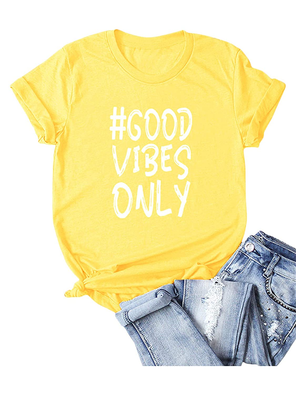 Festnight Good Vibes Only Shirts for Women Casual Manica Corta Lettera Stampa Cute Funny Graphic Tees Shirt Top