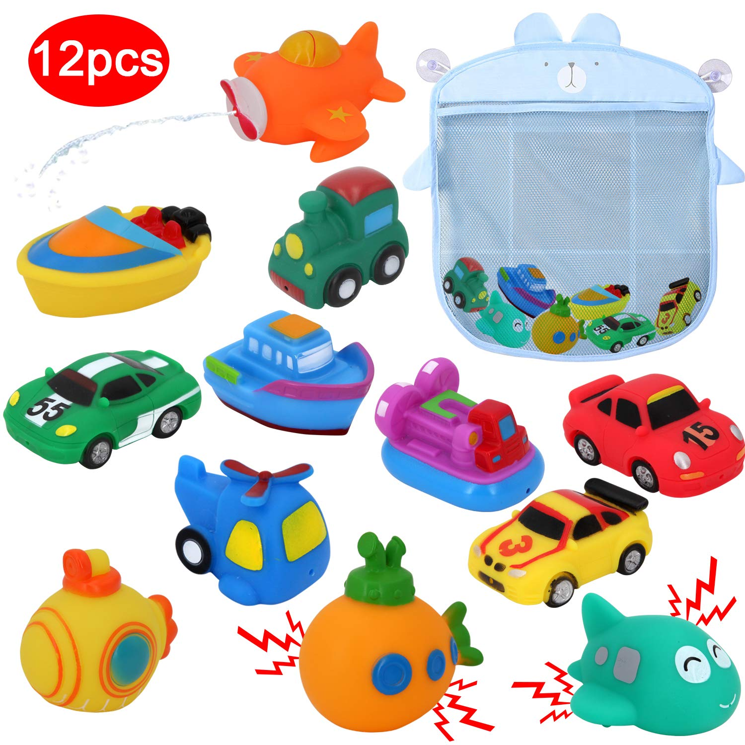 Transportation Train Boats Car Racing Squirting Toys Sealive Squirter Toys Floating Track for Tub Quick Dry Bathtub Toy Holder 12PCS Vehicle Bath Squirt Toys for Toddlers with Baby Toy Organizer