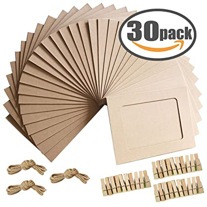 Amazon.com: Paper Photo Frame 4x6 Kraft Paper Picture Frames 30 PCS ...