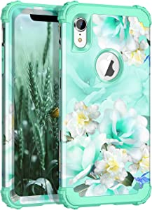 Casetego Compatible iPhone XR Case,Floral Three Layer Heavy Duty Hybrid Sturdy Shockproof Protective Cover Case for Apple iPhone XR,Green/White