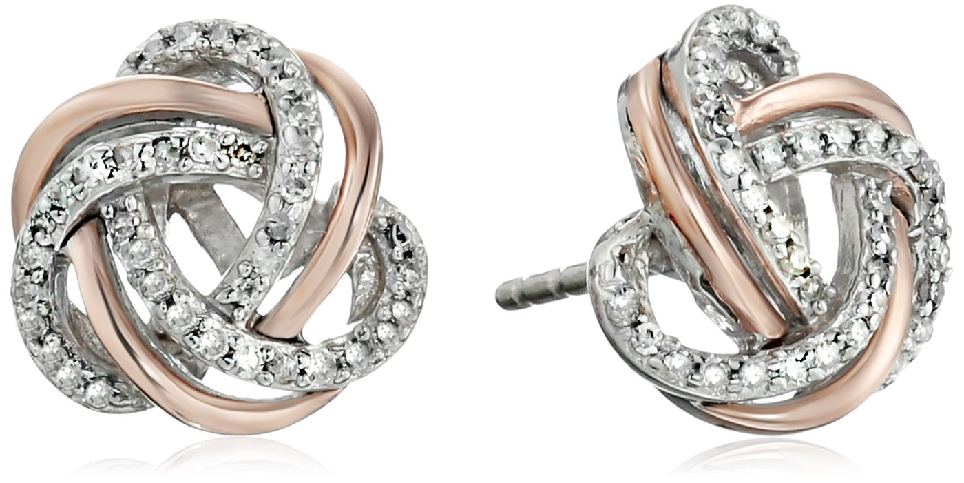 Two-Tone Sterling Silver Diamond Love Knot Stud Earrings (1/5 cttw, J-K Color, I2-I3 Clarity)