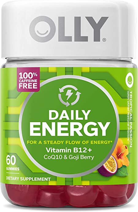 OLLY Daily Energy Gummy, 30 Day Supply (60 Gummies), Tropical Passion, Vitamin B12, CoQ10, Goji Berry, Caffeine Free Chewable Supplement