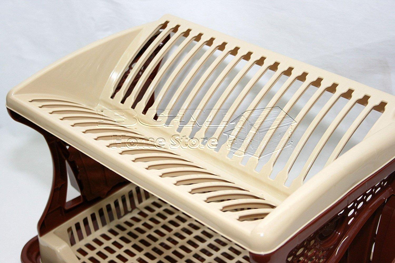 Diseño elegante dos capa plástico escurreplatos – Accesorio de cubiertos  escurridor esponja Caddy con bandeja de goteo ... 0b2c455d1213