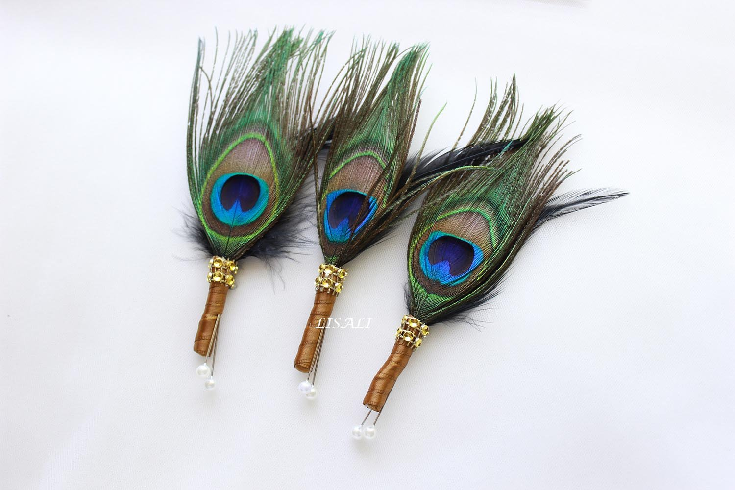 LISALI 3 pcs Peacock Feather Boutonniere, Wedding Feathers Boutonniere, Button Hole, Great Gatsby 1920s Boutonniere, Groom and Groomsmen