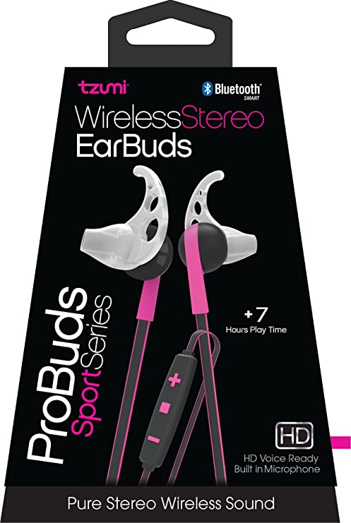 Tzumi Bluetooth Wireless Stereo ProBuds Sports Earbuds - Rechargeable  Wireless Headphones with Powerful Bass - Built in High Definition  Microphone and