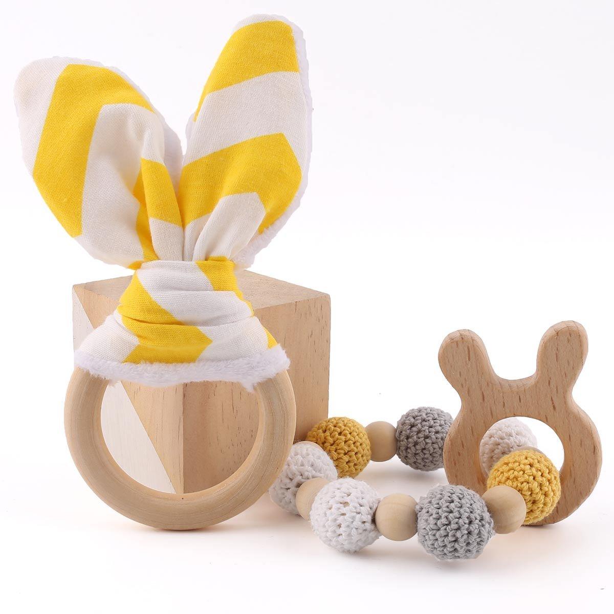 baby tete Anneaux de dentelle Pendentif à anneaux de lapin 1set/2pc Anneau à anneaux de lapin pour bébé Ensemble de tissage en bois original Ensemble de dents pour bébé Ensemble de dents