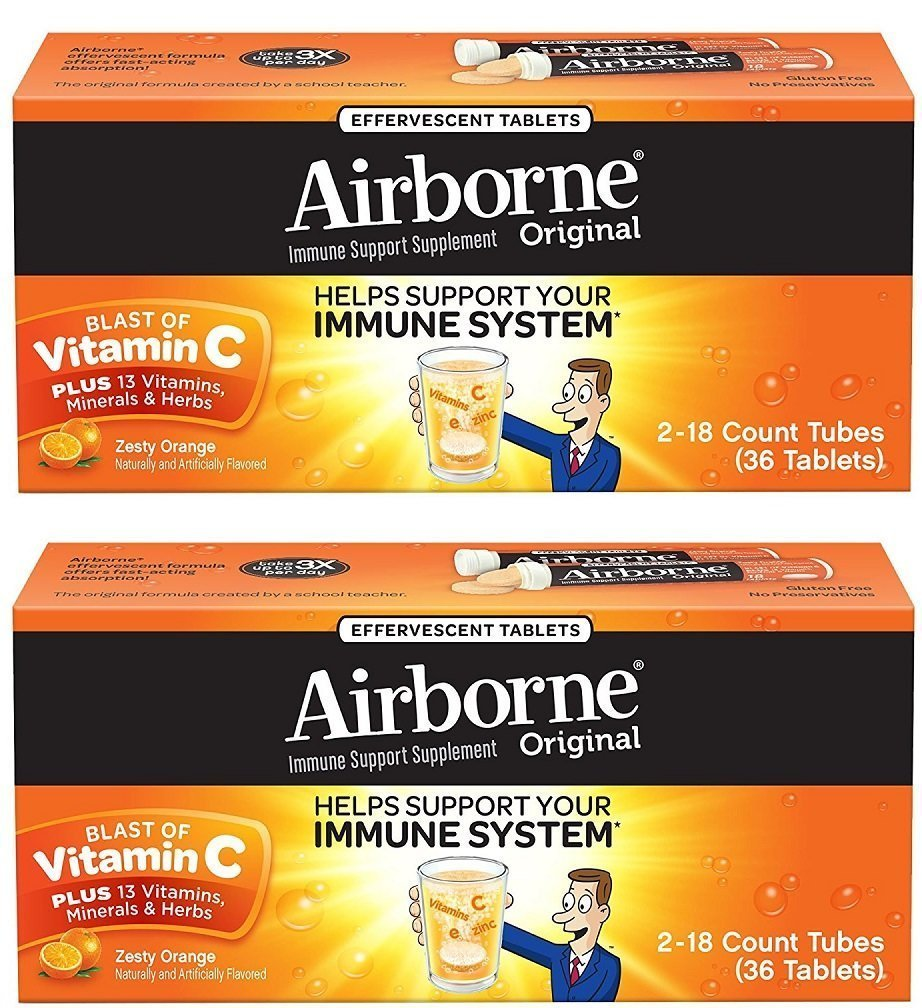 Airborne Zesty Orange Effervescent Tablets Vitamin C 1000mg x 36 Counts (2 Pack) by Airborne