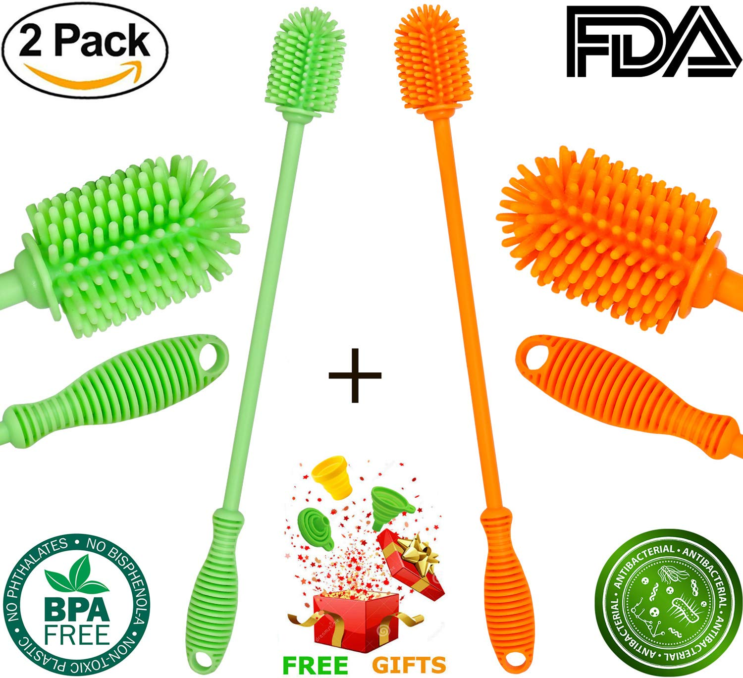Silicone Bottle Cleaner Brush - Antibacterial Bottle Cleaning Brush Set Long Handle for Washing Water Bottle Baby Bottle Thermos Coffee Shaker Glasses Travel Cup Dish Washer Brushes, 2-Pack