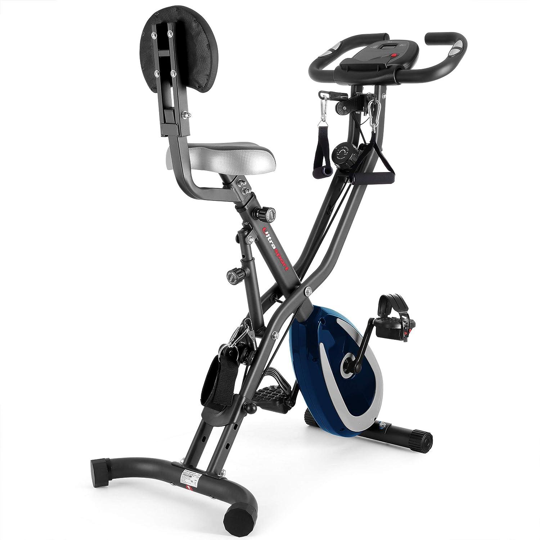 Ultrasport F-Bike 400BS Bicicleta estática Plegable, tracción, Pantalla y App,F-Bike 400BS con Respaldo/Cuerdas & APP, Unisex, Gris Oscuro/Azul Marino