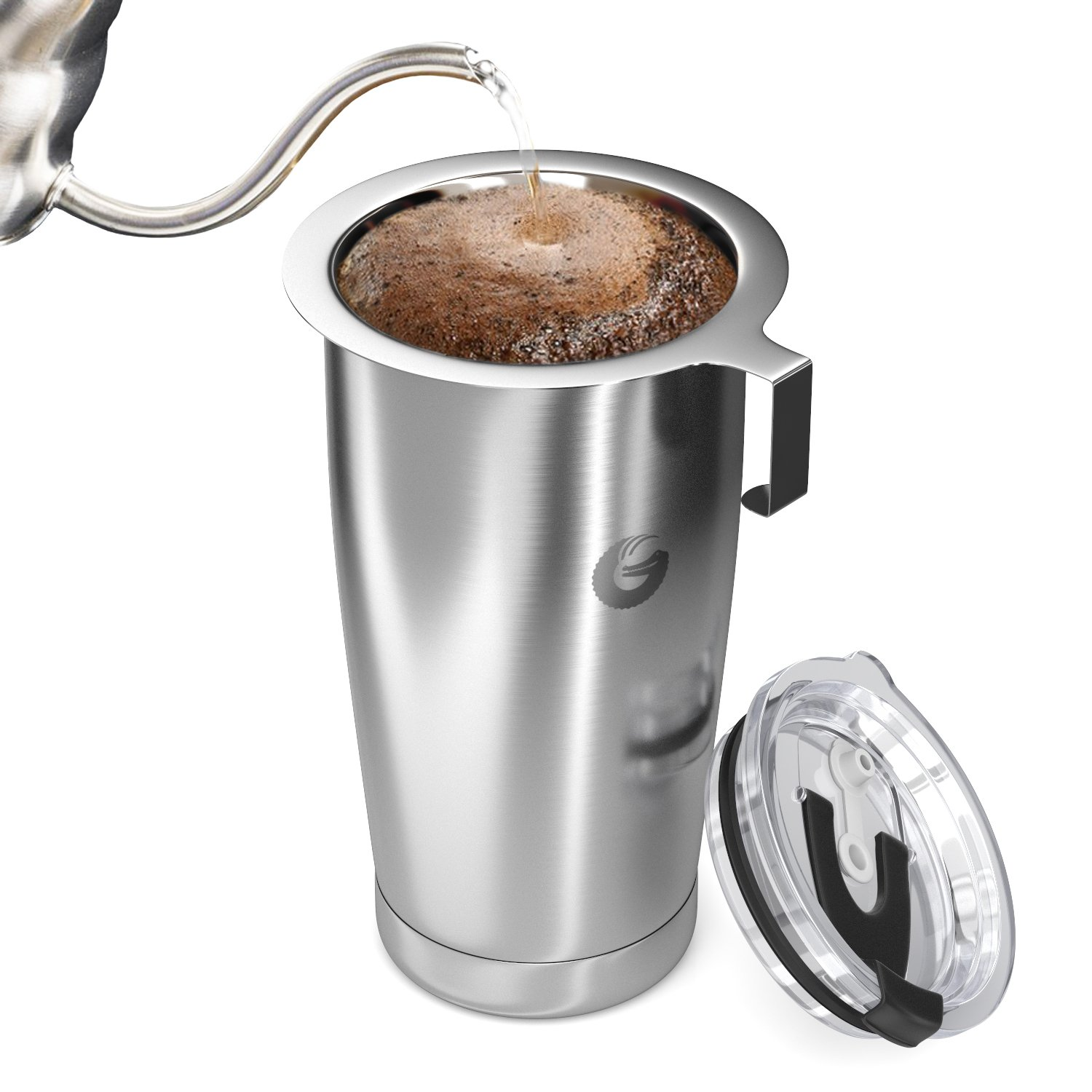 Coffee Gator Pour Over Coffee Maker - All in One Thermal Travel Mug and Brewer - Vacuum Insulated Stainless Steel - 20 ounce - Silver by Coffee Gator (Image #4)