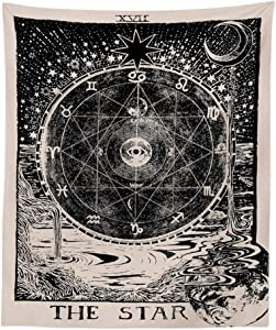 "INTHouse Tarot Star Tapestry Wall Tapestry Wall Hanging Psychedelic Tapestry Celestial Tapestry Medieval Tarot Decor Wall Tapestry for Bedroom Living Room College Dorm Room (51""x59"")"