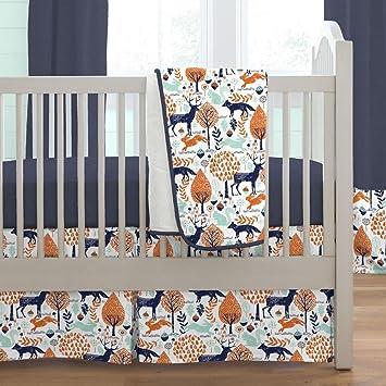 Carousel Designs Navy And Orange Woodland 3 Piece Crib Bedding Set