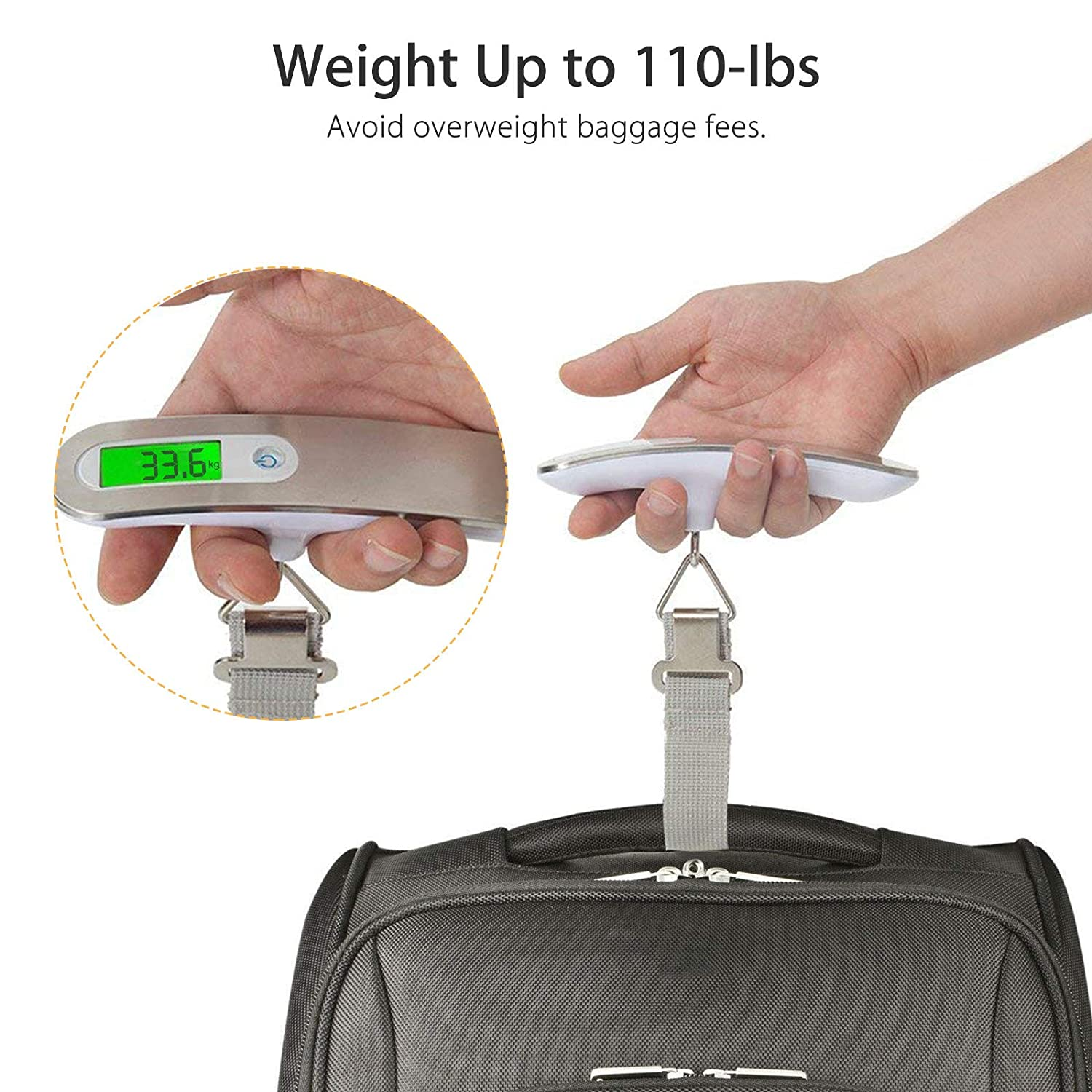 Outdoor and Gifts EEEKit Portable Travel Luggage Scale 110lb // 50kg LCD Digital Hanging Luggage Scale Electronic Weight for Travel Household