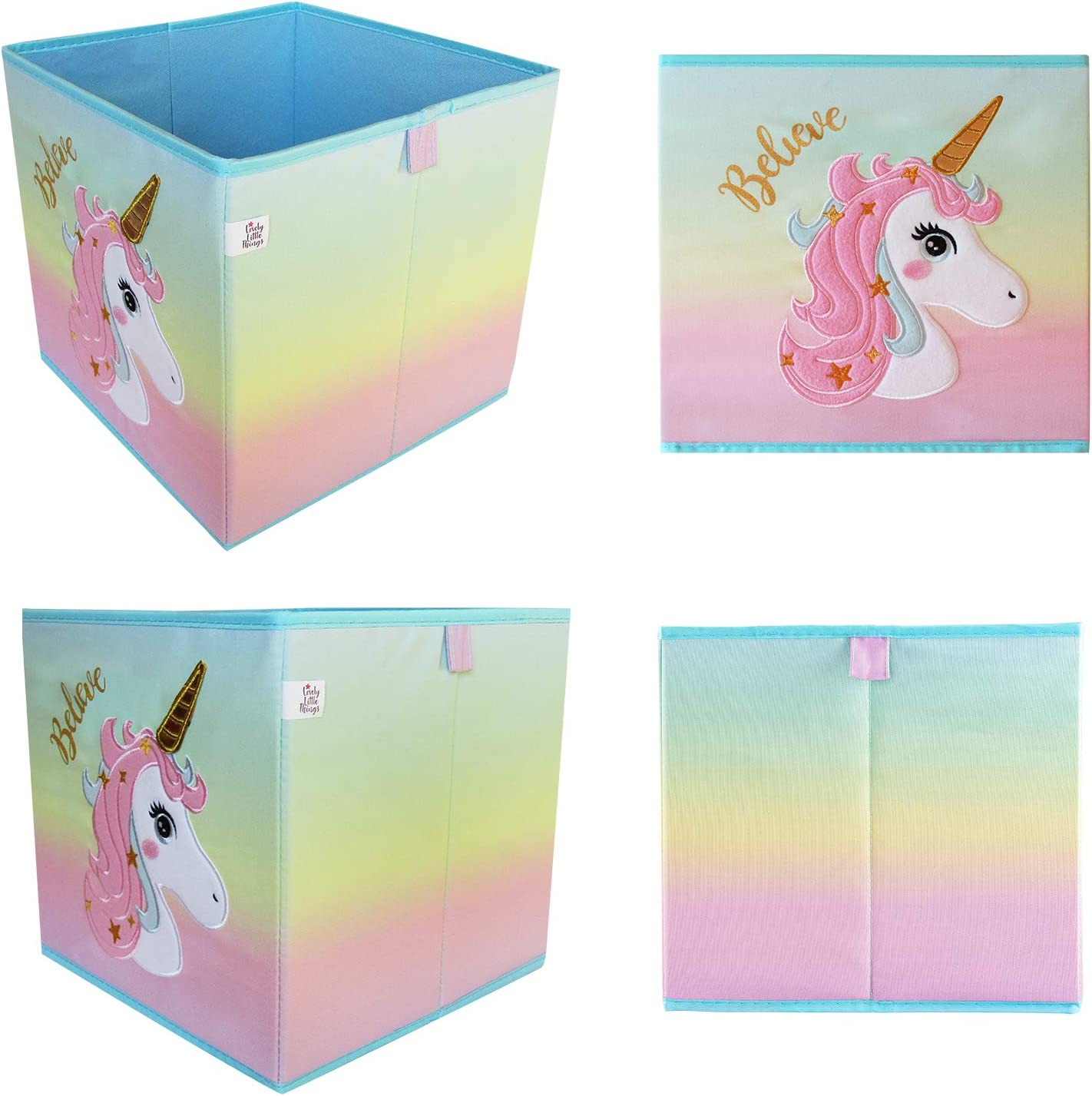 Lovely Little Things Unicorn Collection Storage Bins 2 Purple