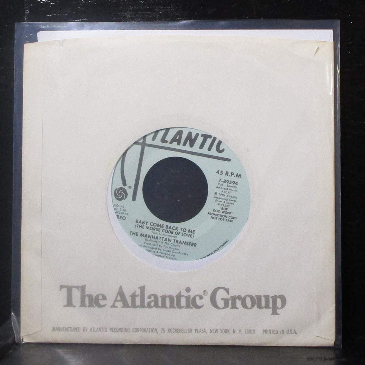The Manhattan Transfer   Baby Come Back To Me (The Morse Code Of Love)  (VG++ DJ 45 Rpm)   Amazon.com Music