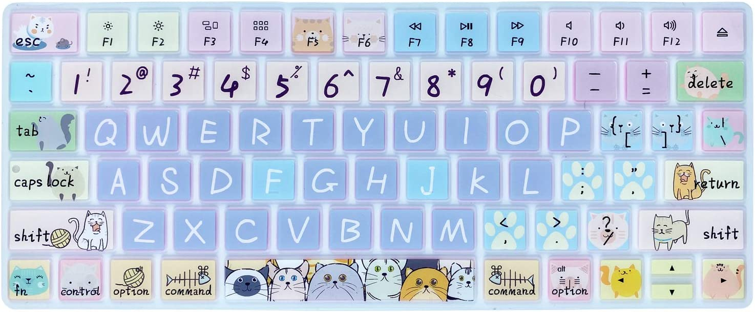 Keyboard Cover Skin for Apple Wireless iMac Magic Keyboard MLA22LL/ A (Model: A1644), Silicone Skin Protector with Pattern & Big Letter Design, US Layout, Cute Cat