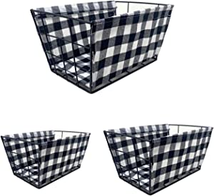 THE NIFTY NOOK - Set of 3 Farmhouse Storage Baskets with Basket Liner Set - for Home and Kitchen Storage (Set of 3 Farmhouse - Plaid)