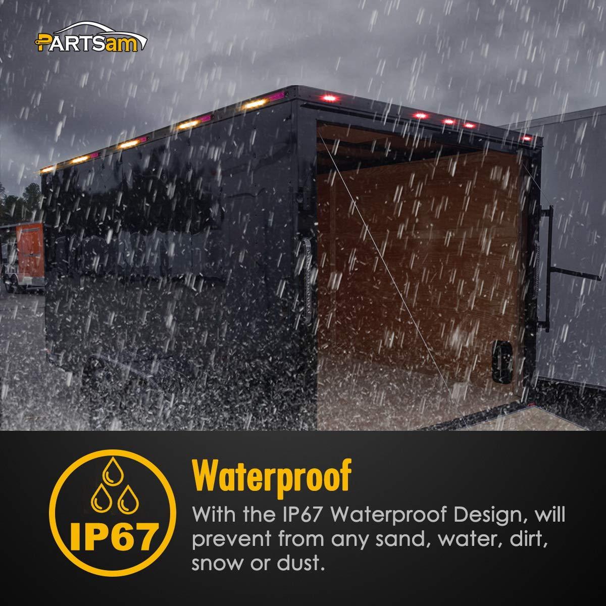 Partsam NEW Set of 4 Amber Side Marker Clearance Light 6 LED Surface Mount For Boat RV Camper