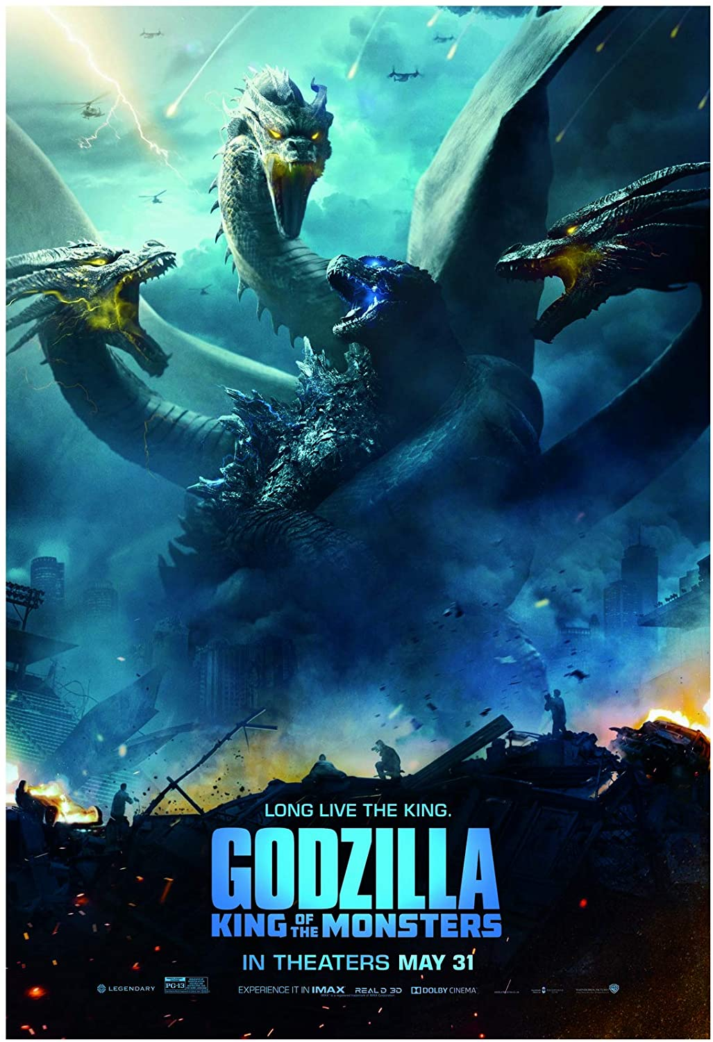 Godzilla King of The Monsters Movie Poster 24 x 36 Inches Full Sized Print Unframed Ready for Display