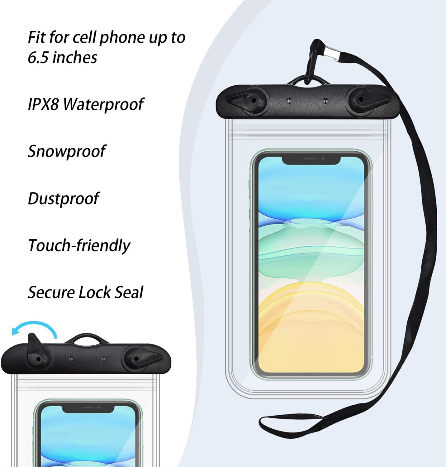 JJQHYC Waterproof Pouch Bag Underwater Touchable Phone Dry Bag for Fishing//Beach Holiday Keep Valuables Safe and Dry