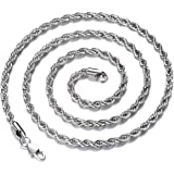FEEL STYLE Men Necklace Stainless Steel Chain Silver Plated Chains 3-5mm Twist Rope Box Necklace 14-30 Inch Necklaces for Men