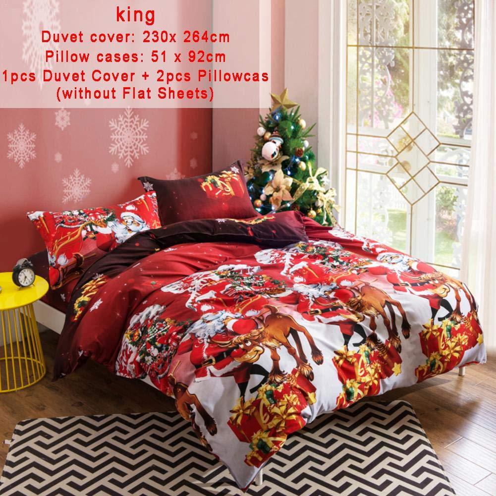 greatown Sets de funda nórdica navideña, juego de cama con colcha de almohada y funda de almohada de dibujos animados en 3D de Navidad, Papá Noel Decoración de dormitorio de Navidad feliz
