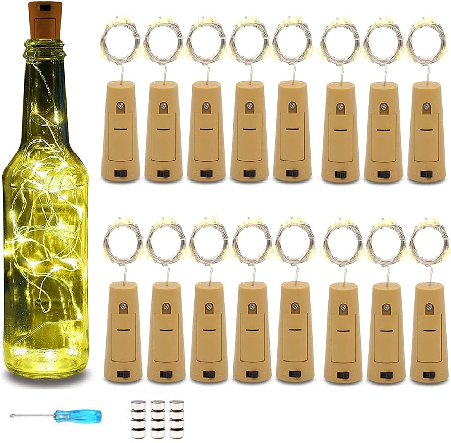 Wine Bottle Lights with Cork 16 Pack 15LED, Battery Operated The Fairy Mini Copper Wire Cork Lights is 4.92 Feet Used for Mason Jars,DIY Party Christmas Lights,Decor,Wedding(Warm White, 16 Pack)