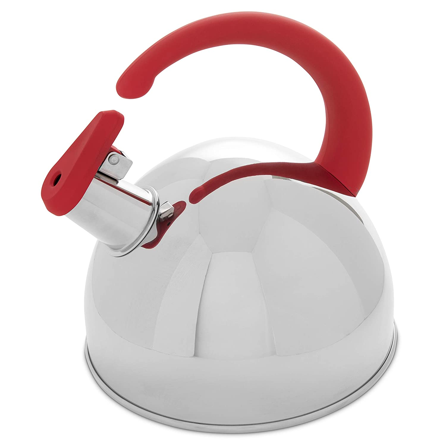 Whistling Tea Kettle, 304 Stainless Steel with Green Cool Touch Silicone Handle, 1.7QT - Pour Over Kettles with Modern Accents - Stylish, Quick Heating, Rust-Proof, Stovetop Coffee and Tea Pots MECOLA