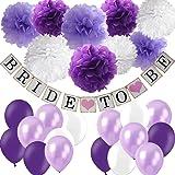 Purple Bridal Shower Decorations Set- Bride To Be Banner White Lavender Purple Big Size Tissue Paper Flower Pom Poms…