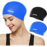 Aegend Swim Caps for Long Hair (2 Pack), Durable Silicone Swimming Caps for Women Men Adults Youths Kids, Easy to Put On and