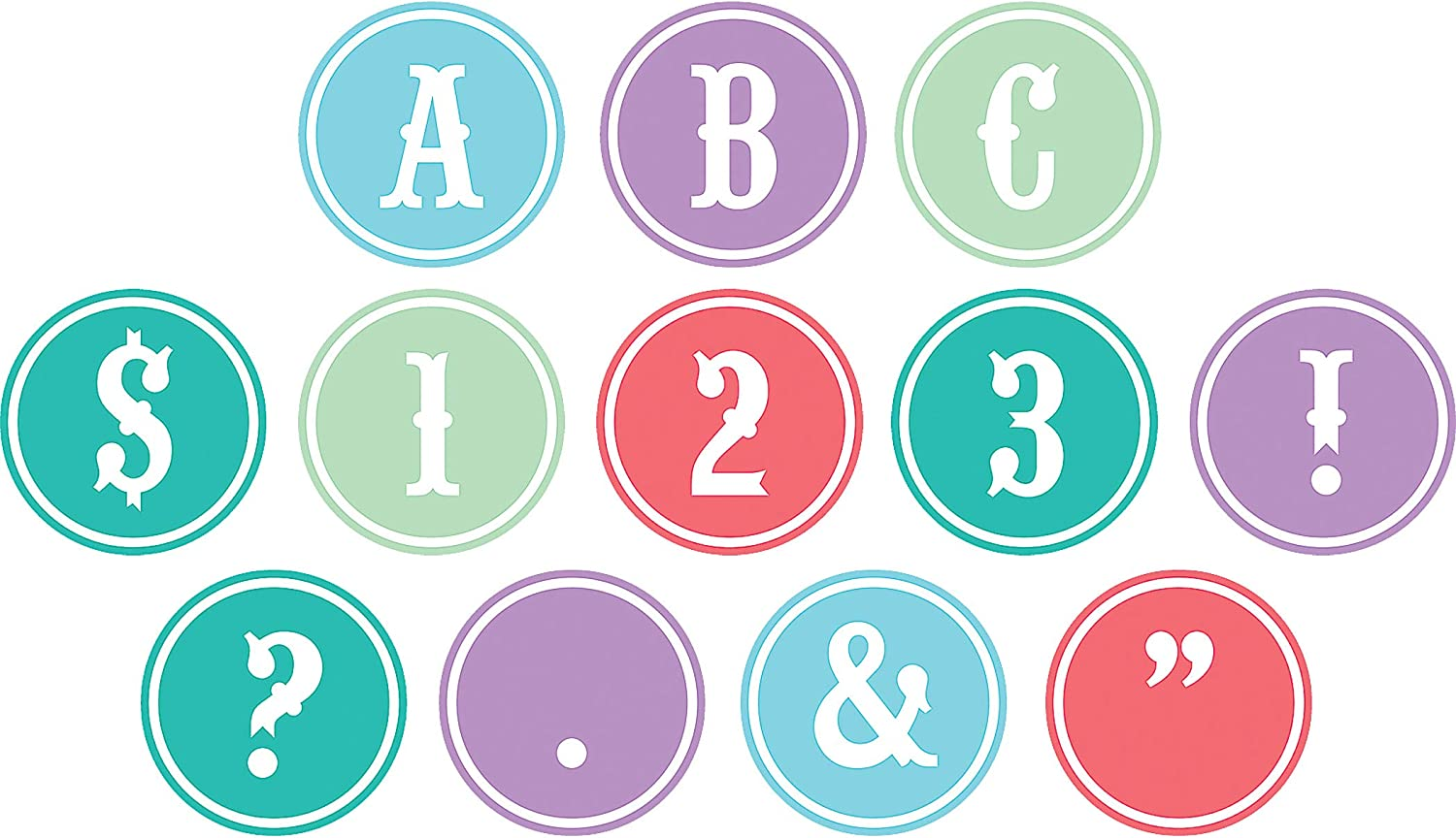 Teacher Created Resources Shabby Chic Circle Letters (77171), 3.5 Inches