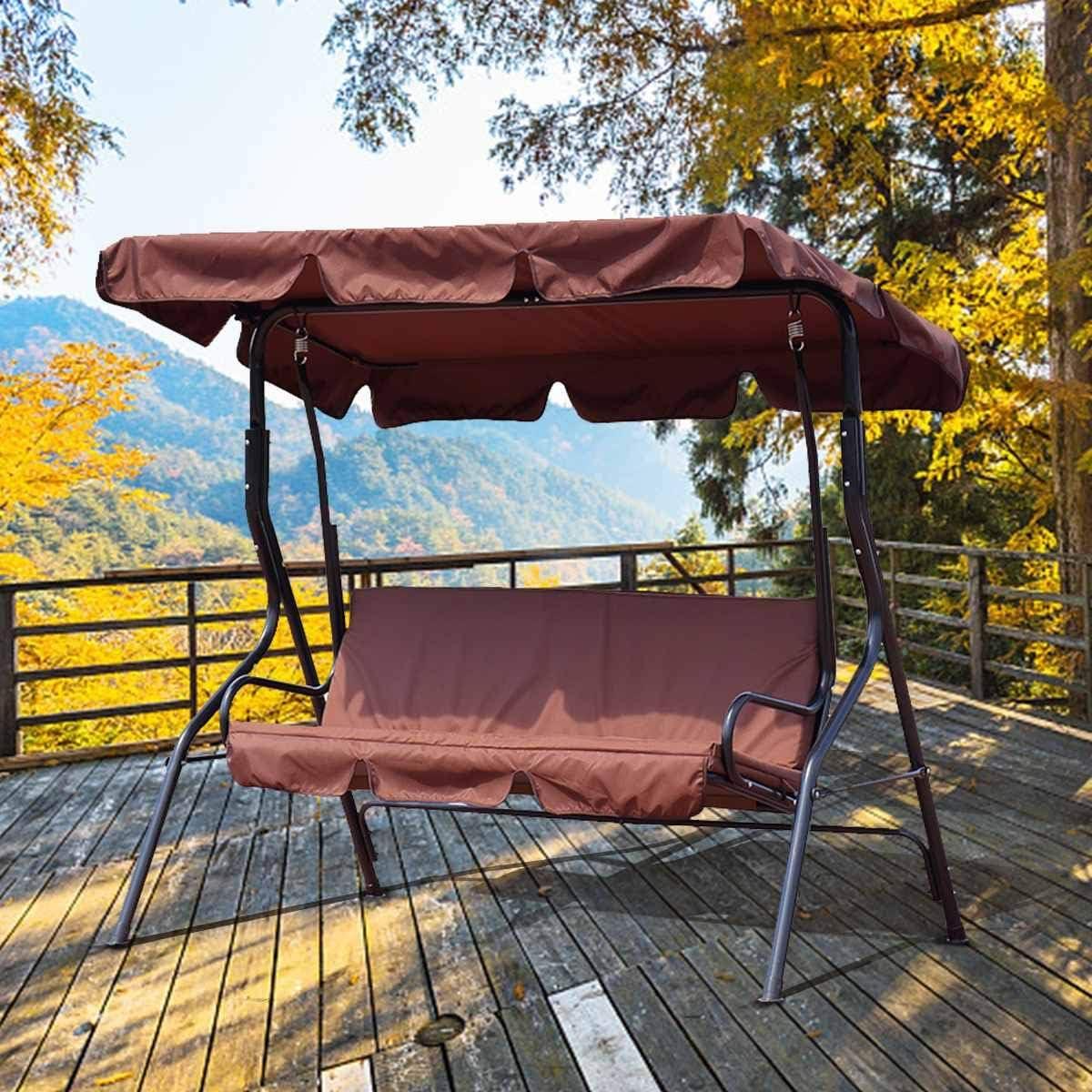 Wenhu 3 Asientos Resistente a los Rayos UV Jardín Columpio Silla Cubierta Sombra Vela Polvo/Impermeable Patio al Aire Libre Hamaca Carpa Columpio Cubierta Superior,Marrón: Amazon.es: Deportes y aire libre
