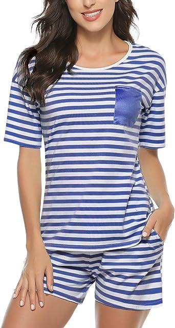 Hawiton - Pijama de algodón para mujer (pantalones cortos a rayas), color gris claro/negro/rosa - Azul - XL: Amazon.es: Ropa y accesorios