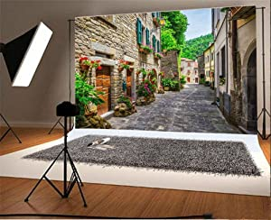 Laeacco 7x5FT Vinyl Backdrop Photography Background European Building Italy Street Typical Italian Small Provincial Town Tuscan Narrow Alley Flowers Stone House Scenery Travel Resort Spots Backdrop