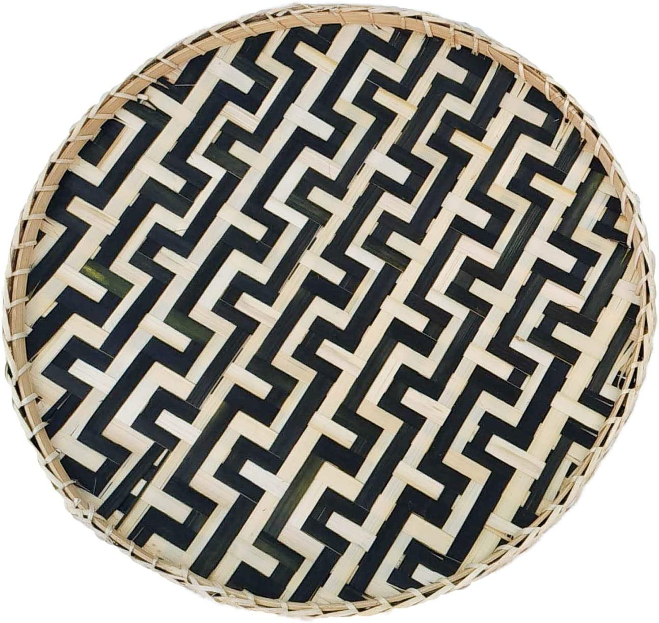 Bamboo Woven Round Basket Tray Rustic Wood Decorative Serving Tray for Breakfast, Drinks, Snack, Coffee Table   Chic Rustic Boho Decor Wall Hanging Home Decoration (Round - Snake Black)