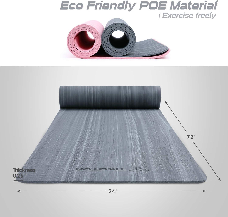 Tikaton Yoga Mat, High Density, Lasting Rebound Eco Friendly POE Yoga Mat Bothside Non-Slip Exercise & Fitness Mat with Carrying Strap, Workout Mat ...