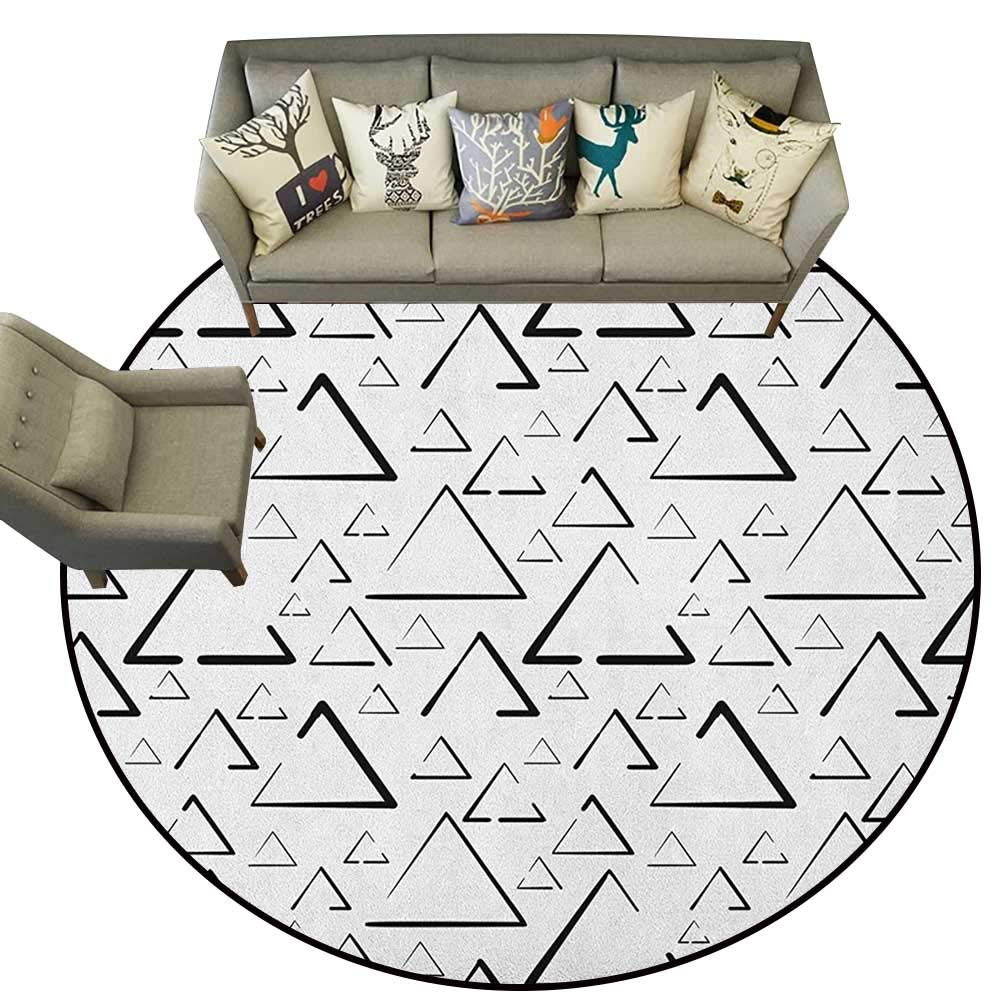 Style03 Diameter 54(inch& xFF09; Geometric,Personalized Floor mats Hand Drawn Stripes and Arrow Shapes Pattern with Grunge Background D54 Floor Mat Entrance Doormat