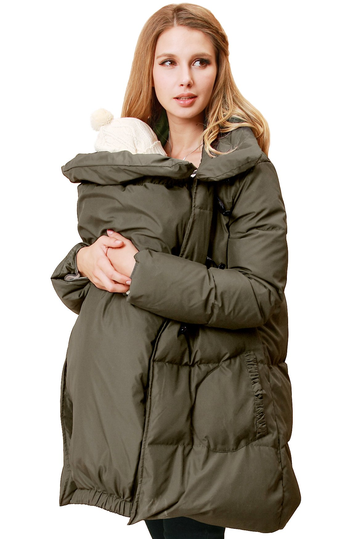 Sweet Mommy Maternity and Mother's Down Duffle Coat With Baby Wearing Pouch Khaki, LL by Sweet Mommy