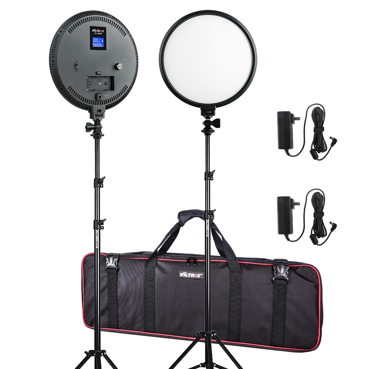 (2 Pack) 10-Inch Pro FlapJack Studio VILTROX 2000LM Bi-Color LED Studio Edge Round Light with Stand Kit for Photo Studio Product,Portrait/Video Shoot Photography by VILTROX