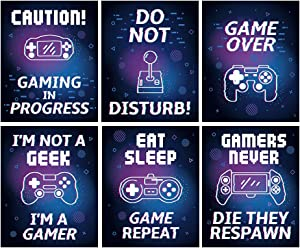 """Colorful Video Game Canvas Posters,Gaming Inspirational Saying Art Print ,Set Of 6(8""""X10"""",Unframed),Watercolor Motivational Quote Wall Art For Kids Boy Bedroom,Playroom, Dorm Decor"""