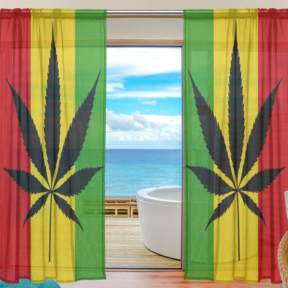 SEULIFE Window Sheer Curtain, Marijuana Leaf Leaves Cannabis Voile Curtain Drapes for Door Kitchen Living Room Bedroom 55x78 inches 2 Panels by SEULIFE