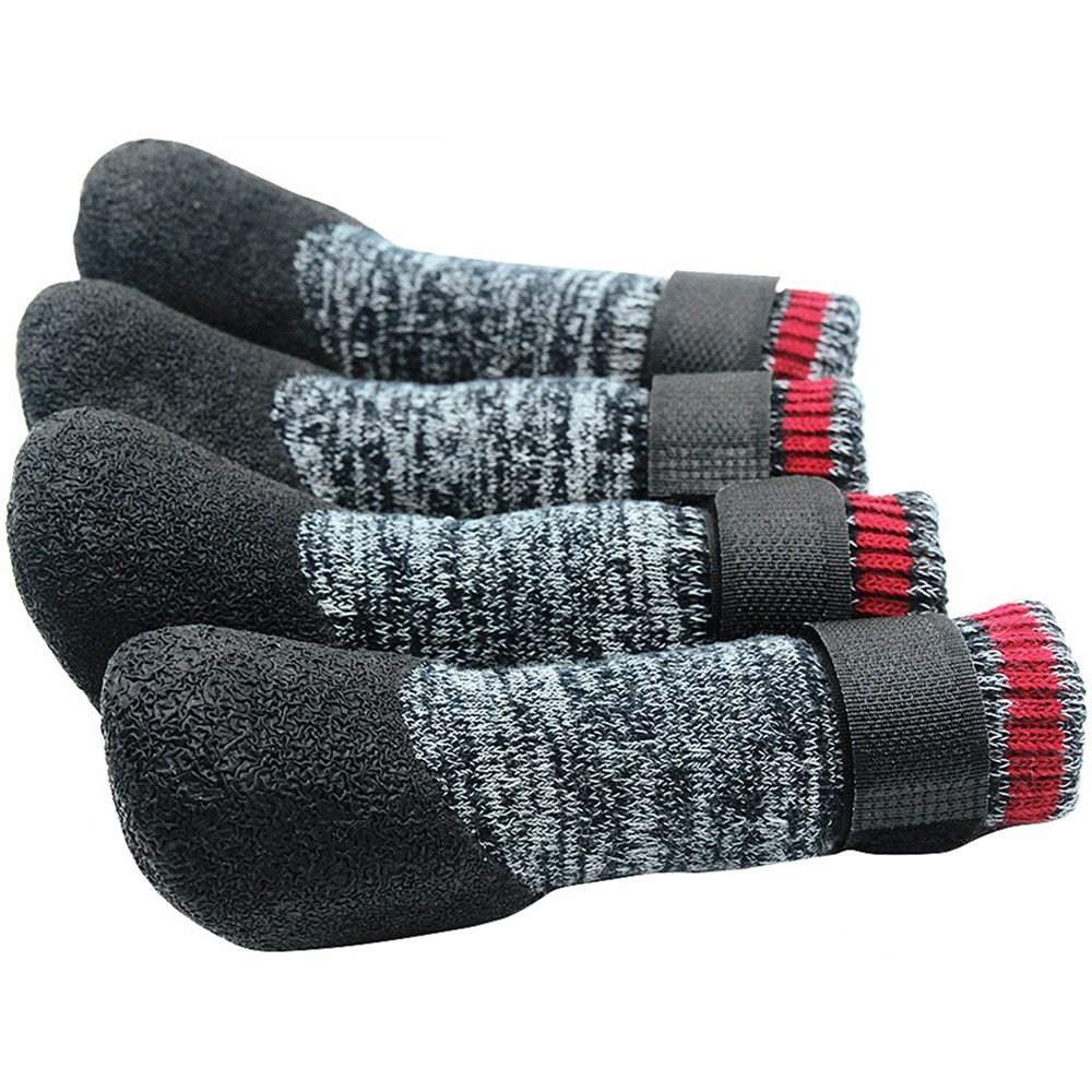 Mihachi Dog Socks Winter Paw Protectors Silicone Sole with Velcro Straps Traction Control Anti-Slip Waterproof Boots,L
