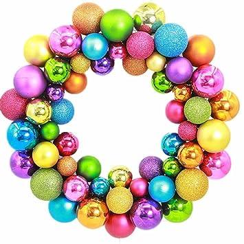 Amazon.com: TONSEE Xmas Wreaths Decorative 55 Balls Wreath for Door ...