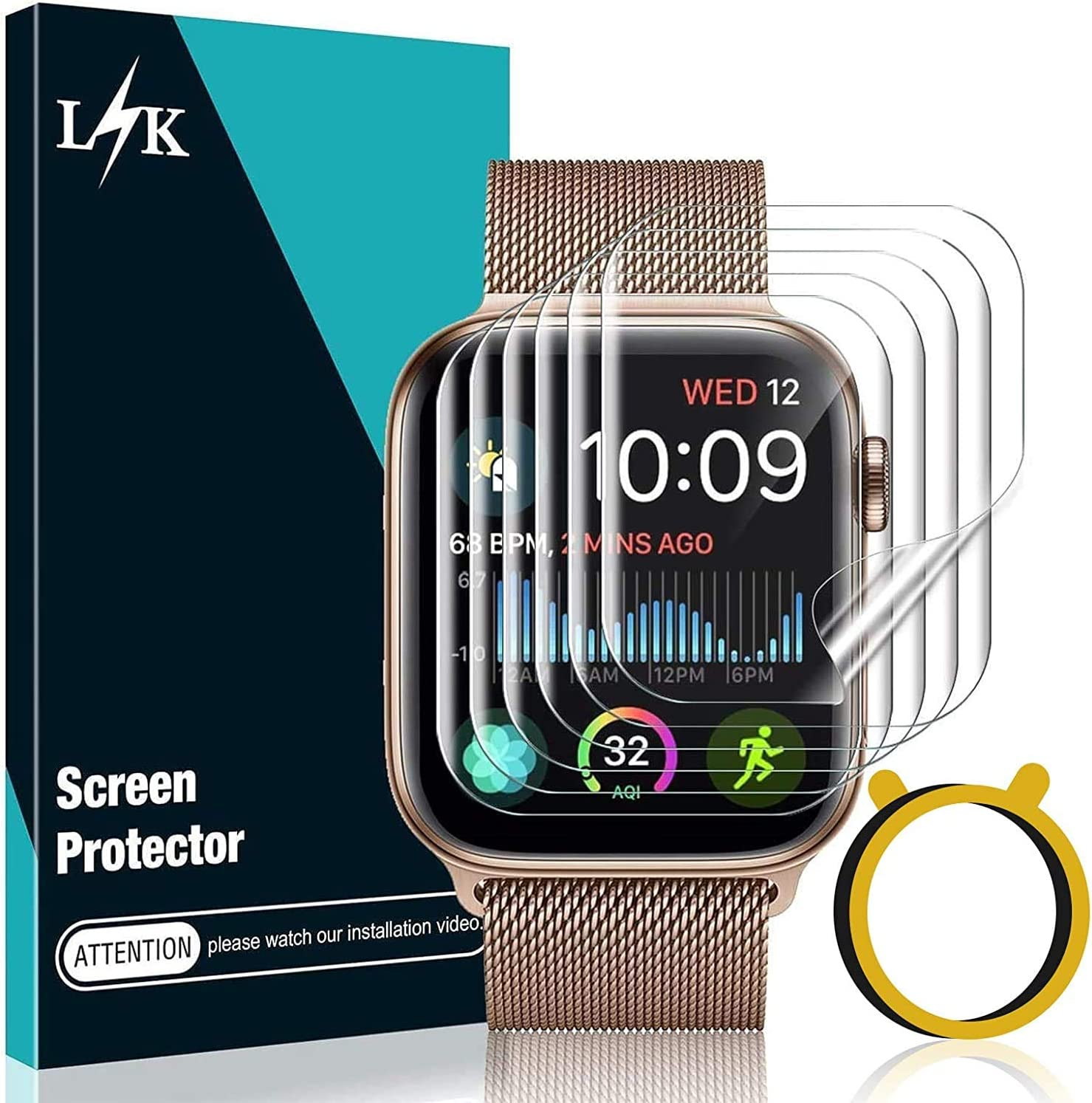 LϟK 6 Pack Screen Protector Compatible for Apple Watch 44mm Series 6 5 4 / Apple Watch SE 44mm / Apple Watch 42mm Series 3 2 1 with Circle Installation Tool, Full Coverage Flexible Soft TPU for iWatch