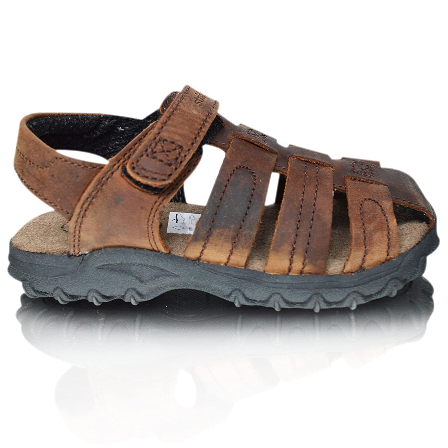 2027a827e2e24 Xelay Boys Leather Brown Fisherman Sports Summer Sandals Size Toddlers Child  UK 7 8 9 10 ...