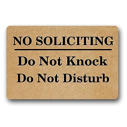 Charming Jhonny No Soliciting Do Not Knock Do Not Disturb Doormat Design Nonwoven  Fabric Nonslip Indoor Rug
