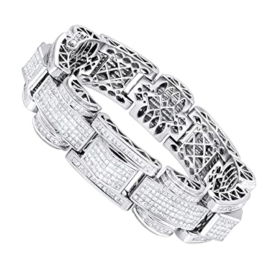 80b7c2fca9d Amazon.com  Mens 14K Gold Unique Princess Cut Diamond Bracelet 30ctw ...