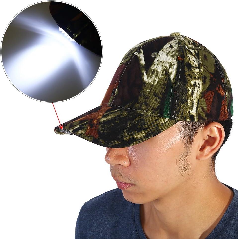 Negro Gorra de b/éisbol LED,Ajustable Linterna port/átil,Adecuada para Acampar,Pesca Nocturna,Deportes