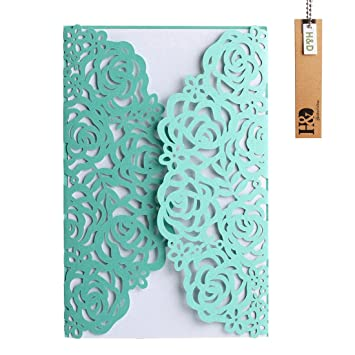 Amazon YUFENG 24pcs Floral Laser Cut Wedding Invitations Cards